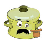 Surprised saucepan cartoon Royalty Free Stock Images