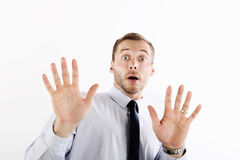 Surprised and scared businessman Stock Images