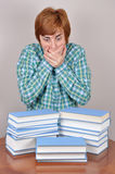 Surprised and scared woman and books. Surprised and scared  woman sitting on the brown table with books wondering how much she has to read Royalty Free Stock Image