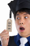 Surprised scholar in expensive education Royalty Free Stock Images