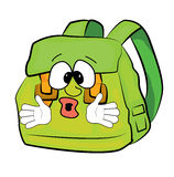 Surprised school bag cartoon Stock Photography