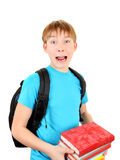 Surprised Schoolboy with a Books Royalty Free Stock Images