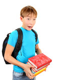 Surprised Schoolboy with a Books Stock Image