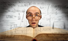 Surprised scientific mathematician Royalty Free Stock Image