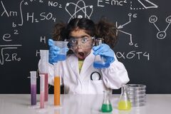 Free Surprised Scientist Girl With Gloves In Lab Coat Royalty Free Stock Images - 177478849
