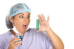 Surprised scientist woman Royalty Free Stock Photo