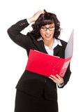 Surprised senior business woman with folder Royalty Free Stock Image
