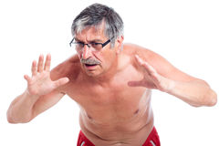 Surprised senior man. Surprised shirtless senior man gesturing, isolated on white background Stock Photos