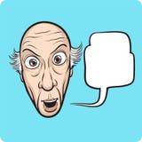 Surprised senior man with speech bubble Stock Image