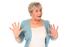 Surprised senior older woman Royalty Free Stock Images