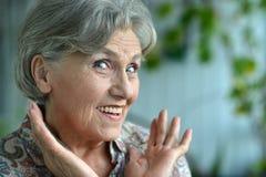Surprised senior woman Stock Image