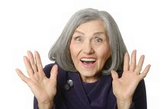 Surprised senior woman Royalty Free Stock Images