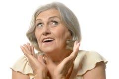 Surprised senior woman Royalty Free Stock Photos
