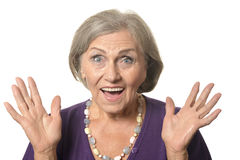 Surprised senior woman Royalty Free Stock Photos