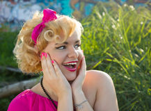 Surprised pin up girl Stock Images