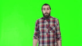 Surprised or shocked bearded man stock footage