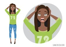 Surprised shocked black african american woman in a casual cloth. Vector ilustration in cartoon style Stock Image