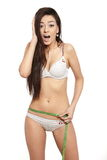 Surprised shocked brunette woman in white lingerie Stock Photos