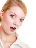 Surprised shocked businesswoman woman girl Stock Photo