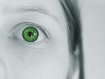 Surprised and shocked dark green eye Royalty Free Stock Images