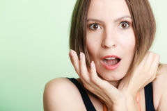 Surprised shocked woman face with open mouth Stock Images