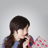 Surprised shopping woman Royalty Free Stock Images