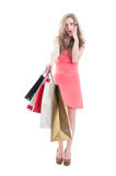 Surprised shopping woman Stock Photos