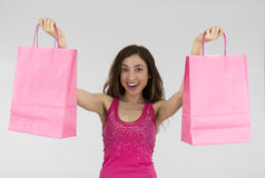 Surprised shopping woman Stock Photo
