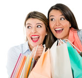 Surprised shopping women Royalty Free Stock Photo
