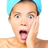Surprised shower woman Royalty Free Stock Images