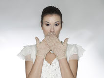 Surprised shy woman Royalty Free Stock Photo