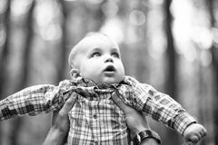 Surprised small child. Little kid in father s hands royalty free stock image
