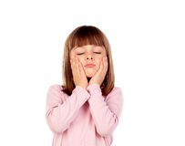 Surprised small girl making gestures Royalty Free Stock Photo