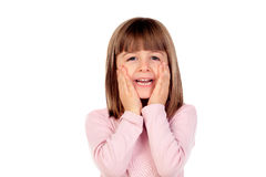 Surprised small girl making gestures Royalty Free Stock Images