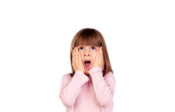 Surprised small girl making gestures. On a white background Stock Images