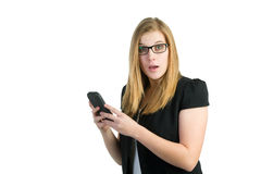 Surprised on a smartphone Stock Photo