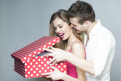Surprised smiling couple Stock Images
