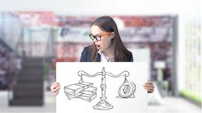 Free Surprised Smiling Young Woman Wearing A Suit And Looking At A Cryptocurrency Sketch On A Design Flat Wall. Concept Of Royalty Free Stock Images - 113213519