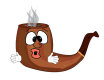 Surprised smoking pipe cartoon Stock Image