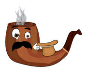 Surprised smoking pipe cartoon Stock Photography