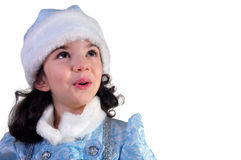 Surprised Snow Maiden. Looking up Stock Image