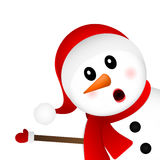 Surprised Snowman on a white background looks Stock Photography