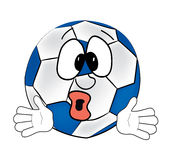 Surprised soccer ball cartoon Royalty Free Stock Image