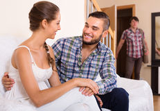 Surprised spouse coming home Royalty Free Stock Images