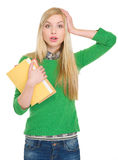 Surprised student girl with books Royalty Free Stock Photography