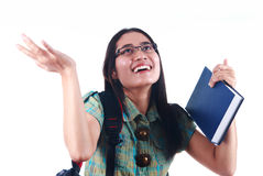 Surprised student girl Stock Images