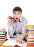 Surprised Student. Preparing for Exam at the School Desk Royalty Free Stock Images