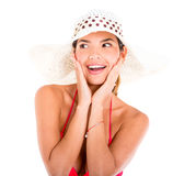 Surprised summer woman Royalty Free Stock Photo