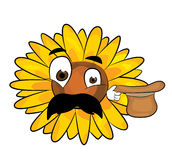 Surprised sunflower cartoon Royalty Free Stock Images