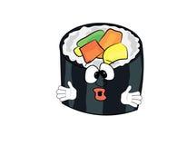Surprised sushi cartoon Stock Images